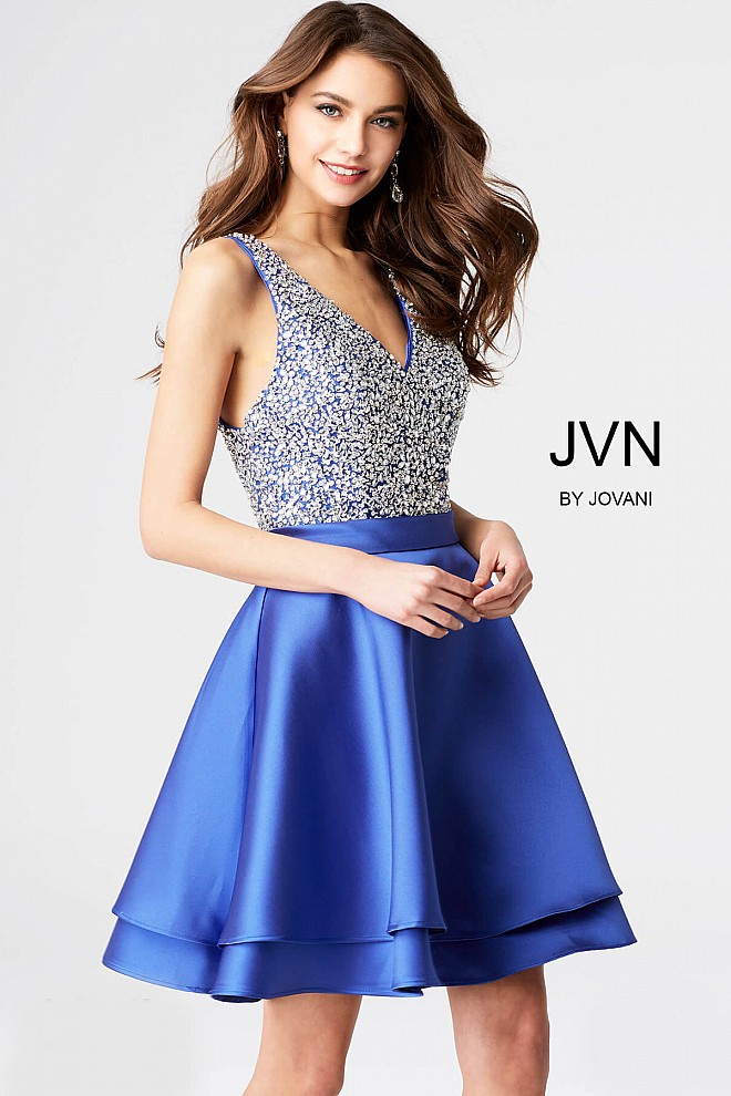 Royal Embellished V neck Bodice Sleeveless Short Dress JVN54740
