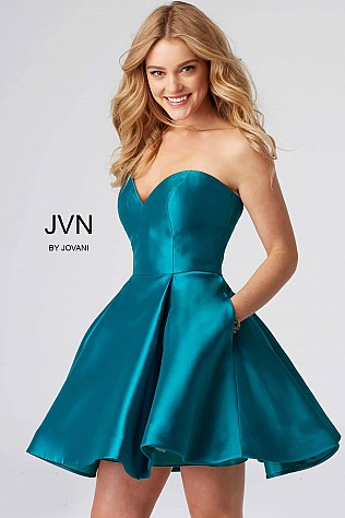 Teal Fit and Flare Sweetheart Neckline Short Dress JVN54881
