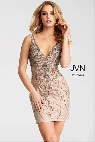 Purple and Nude Embellished Fitted Short Dress JVN55223