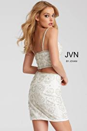 Black Embellished Fitted Two Piece Short Dress JVN55244
