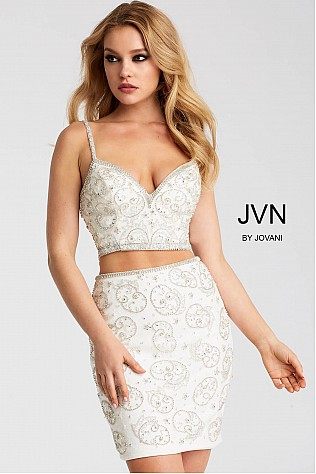 White Embellished Fitted Two Piece Short Dress JVN55244