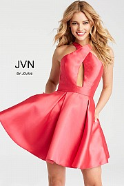 Jvn Lipstick Criss Cross High Neck Short Dress JVN55412