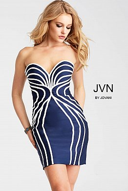 Navy and White Form Fitting Strapless JVN55845