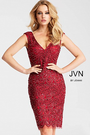 Burgundy Beaded V Neck Cocktail Dress JVN55846