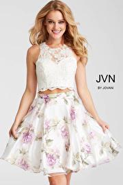 Jvn White Print Lace Bodice Two Piece Short Dress JVN57596