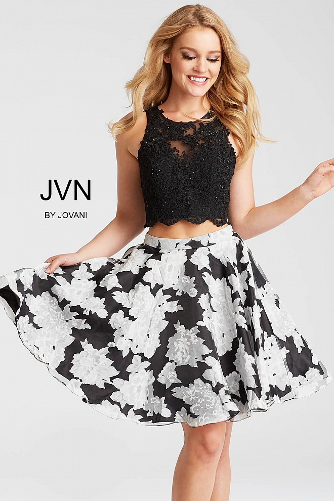 Black Print Fit and Flare Two Piece Short Dress JVN57597