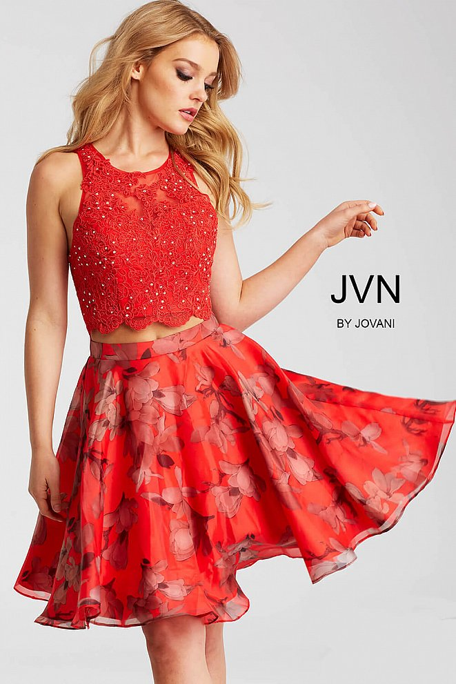 Red Print Two Piece Lace Bodice Short Dress JVN58250