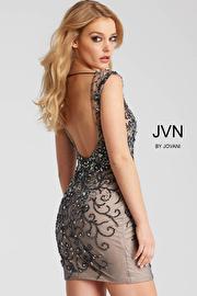 Charcoal and Nude Embellished Plunging Neckline Short Dress JVN58634