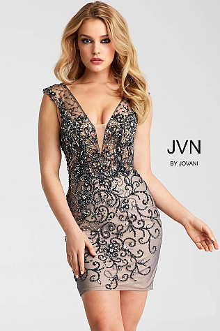 Charcoal and Nude Embellished Plunging Neckline Short Dress JVN58634