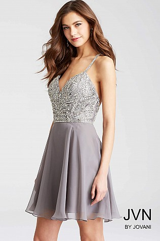 Grey Embellished Bodice Chiffon Short Dress JVN55875