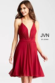 Jvn Burgundy Spaghetti Straps Mesh Short Dress JVN52153