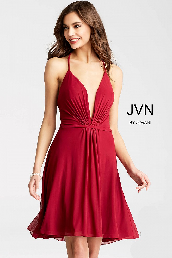 Burgundy Spaghetti Straps Mesh Short Dress JVN52153