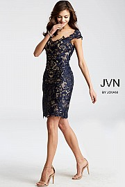Navy and Nude Fitted Lace Cocktail Dress JVN28104