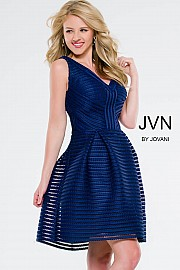Jvn Navy V-Neck Fit and Flare Short Dress JVN41897
