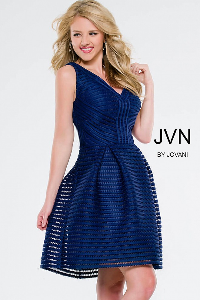 Navy V-Neck Fit and Flare Short Dress JVN41897