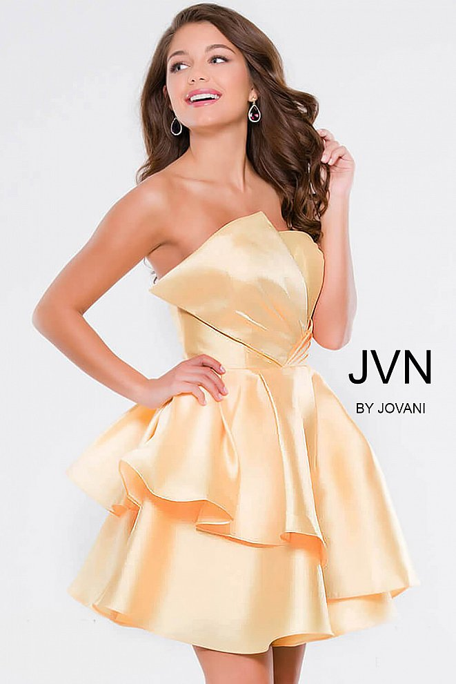 Yellow Strapless Fit and Flare Short Dress JVN45677