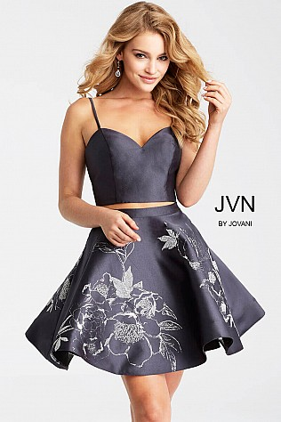 Black Sweetheart neck Fit and Flare Short Dress jvn52293