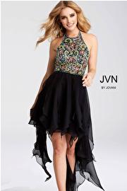 Jvn Black Embellished Bodice High Low Dress jvn53128