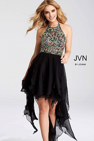 Black Embellished Bodice High Low Dress jvn53128