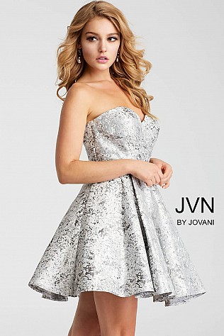 Silver Strapless Sweetheart Neckline Short Dress JVN53203