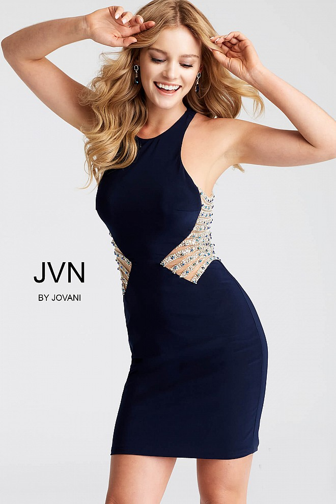 Navy Halter Neck Jersey Short Dress jvn55152