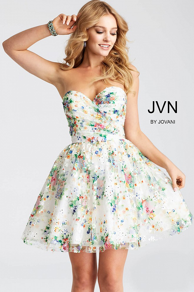 White Multi Fit and Flare sweetheart Neck Dress jvn55240