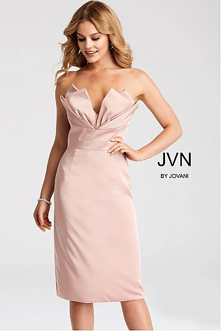 Blush Strapless Knee Length Cocktail Dress JVN55656
