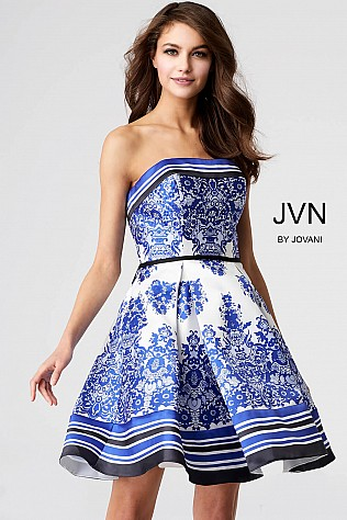 White and Blue Strapless Fit and Flare Short Dress JVN56018