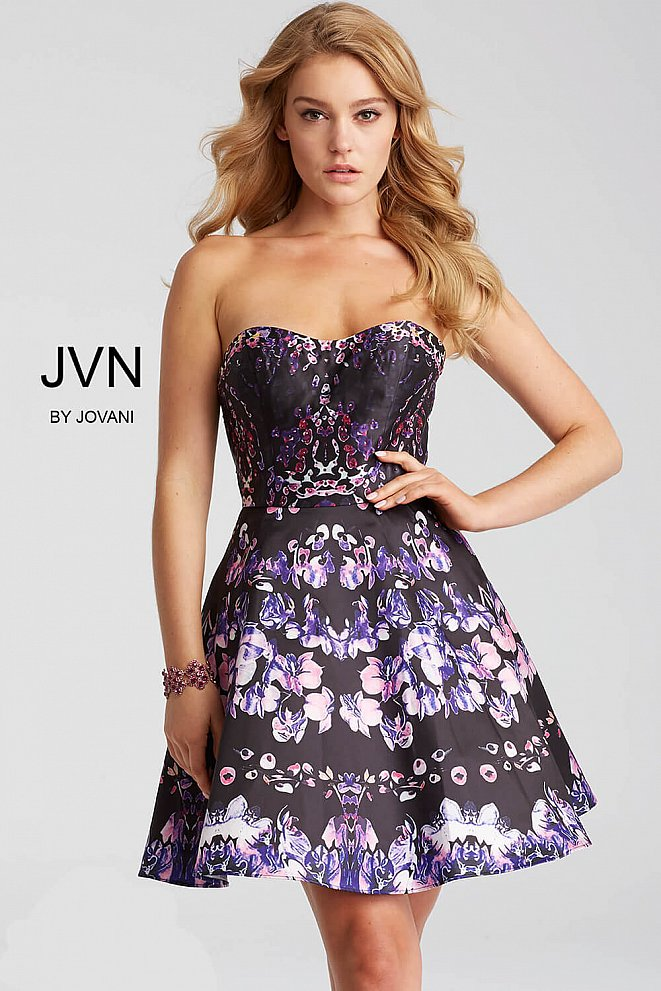 Multi Color Strapless Fit and Flare Short Dress JVN56021