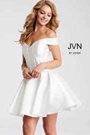 White Off the Shoulder Fit and Flare Short Dress JVN57854