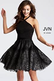 Black and White Halter Neck sleeveless Short Dress JVN58127