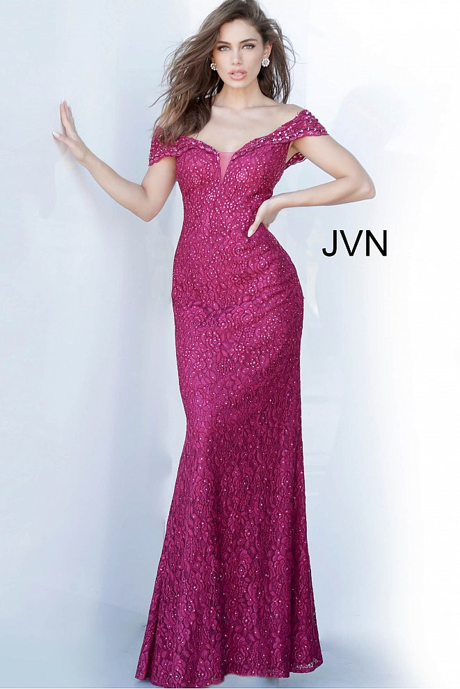 JVN02434 Off the Shoulder Embellished Evening Dress