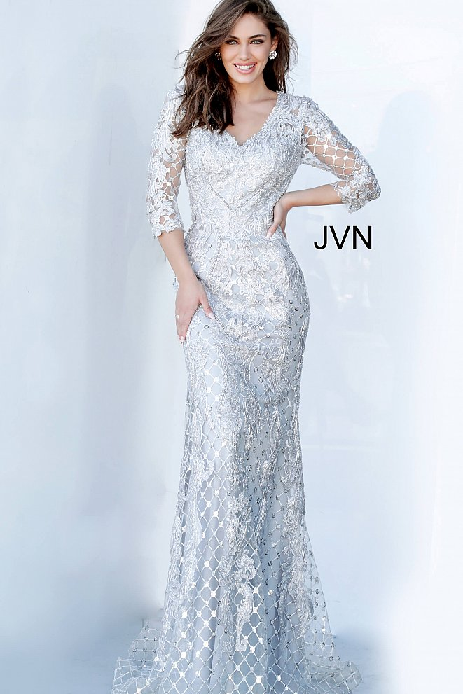 JVN03113 Grey Embellished V Neck Evening Dress