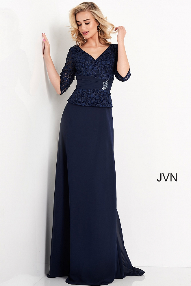 JVN03156 Navy Three Quarter Sleeve Evening Gown