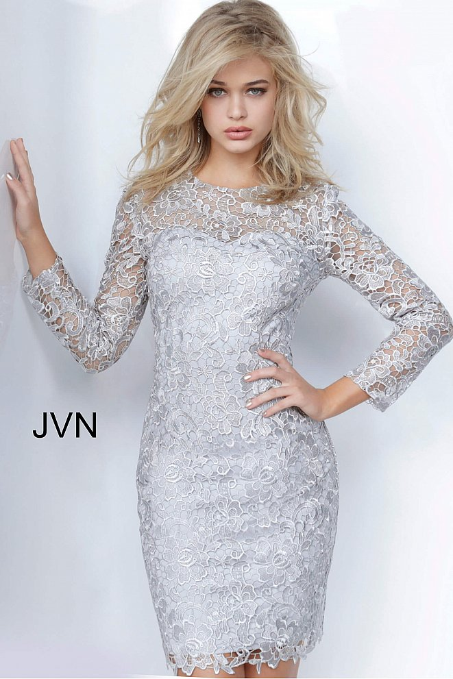 JVN3217 Silver Lace Long Sleeves Dress