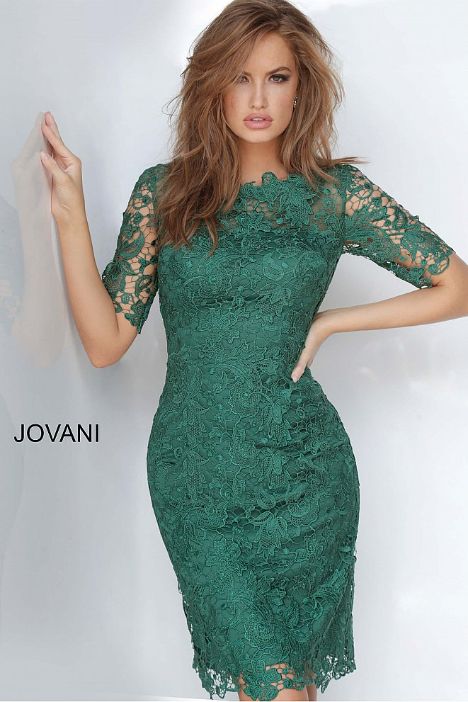 JVN3218 Lace Form Fitting Cocktail Dress
