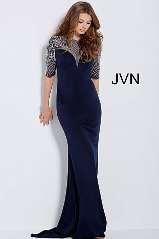 Navy Short Sleeve Embellished Neckline Evening Dress JVN53132