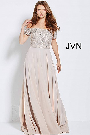 Off the Shoulder Short Sleeve Cafe Evening Dress JVN54483