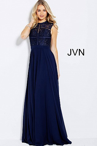 Navy High Neck Sleeveless Evening Dress JVN54498