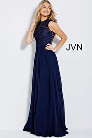 Navy High Neck Sleeveless Evening Dress JVN54498