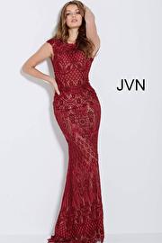 Burgundy Nude Backless Lace Evening Dress JVN55867