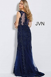 Navy Embellished Fitted Evening Gown JVN56006