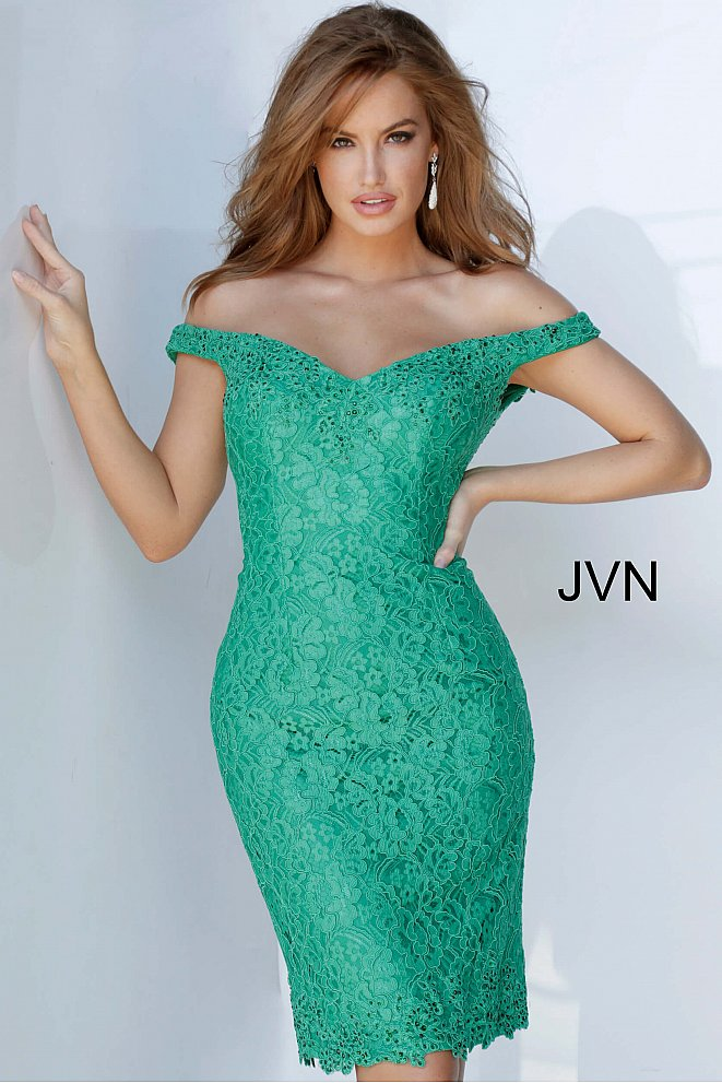 JVN62568 Off the Shoulder Lace Cocktail Dress