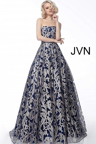 5cec8a7d9918b Jvn Navy Blush Strapless Evening Ballgown JVN62760