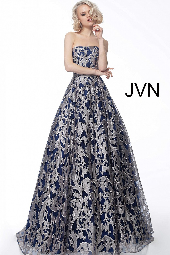 80363a344aec Navy blush long a line embroidered evening gown jvn62760.