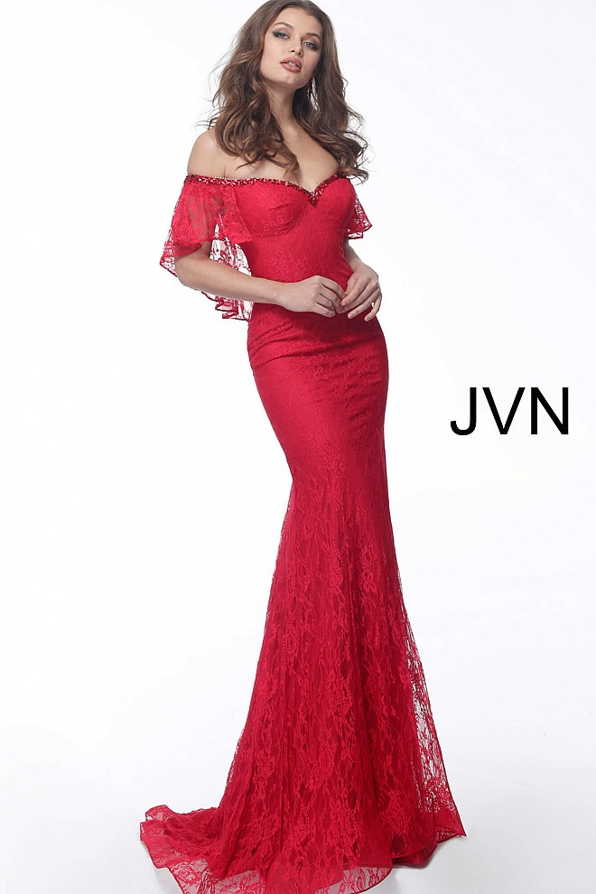 Red Off the Shoulder Sweetheart Neck Evening Dress JVN64116