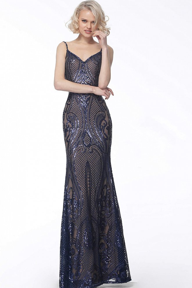 JVN66960 Navy Spaghetti Straps V Neck Evening Dress