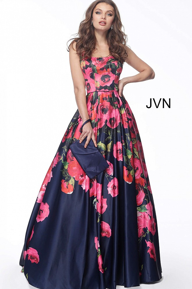 Floral Print Square Neck Satin Evening Ballgown JVN67128