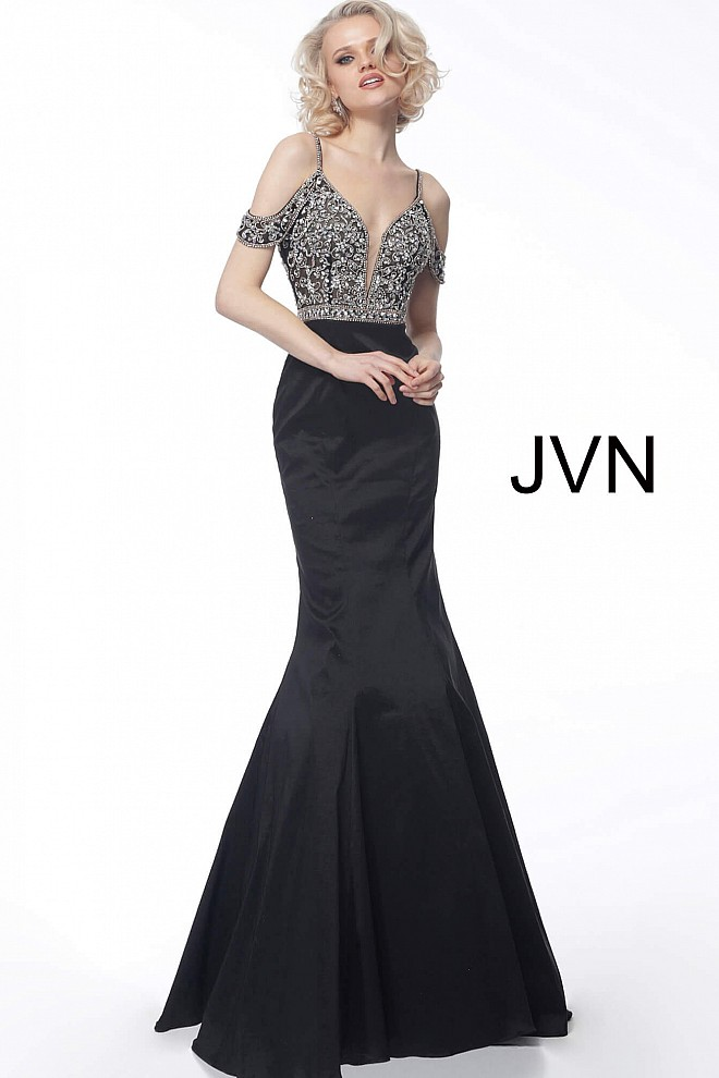 Black Plunging Neckline Mermaid Evening Dress JVN68141