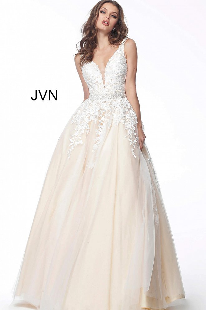 JVN68258 Off White Nude Embellished Sleeveless Evening Gown